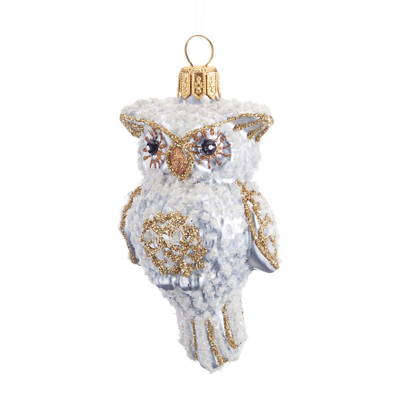 Frosted Owl Christmas Ornament
