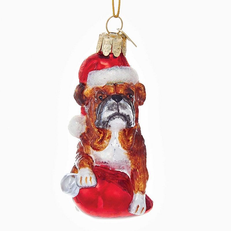 Holiday Bulldog Christmas Ornament