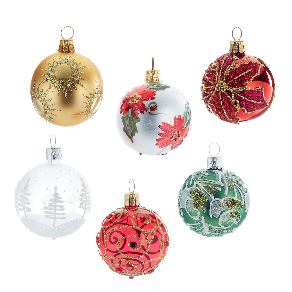 Happy holidays christmas ornaments set of 6 gump 39 s for Holiday christmas ornaments