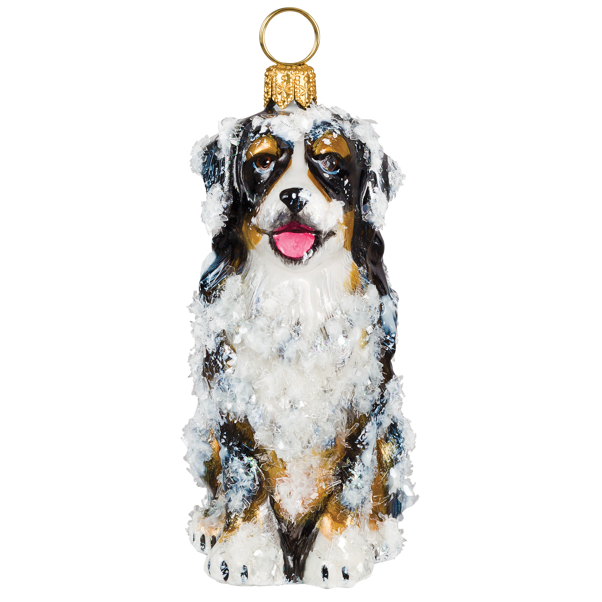 Bernese with Snow Christmas Ornament