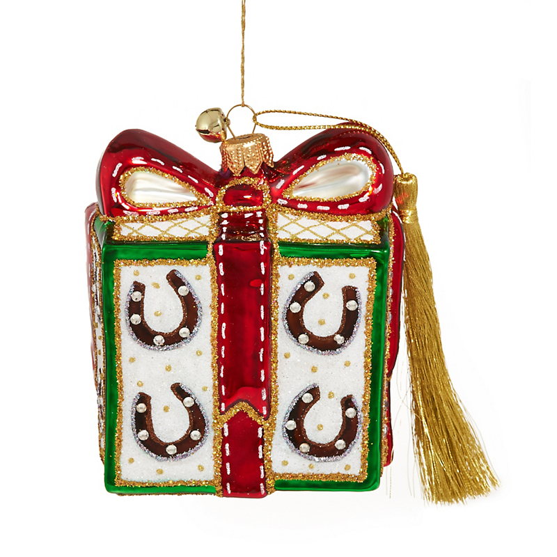 Jingle Nog Presently Saddled Christmas Ornament