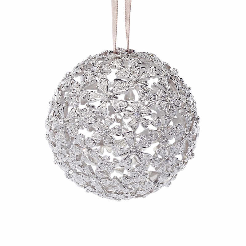 L'Objet Crystal Garland Ball Ornament, Gold/White