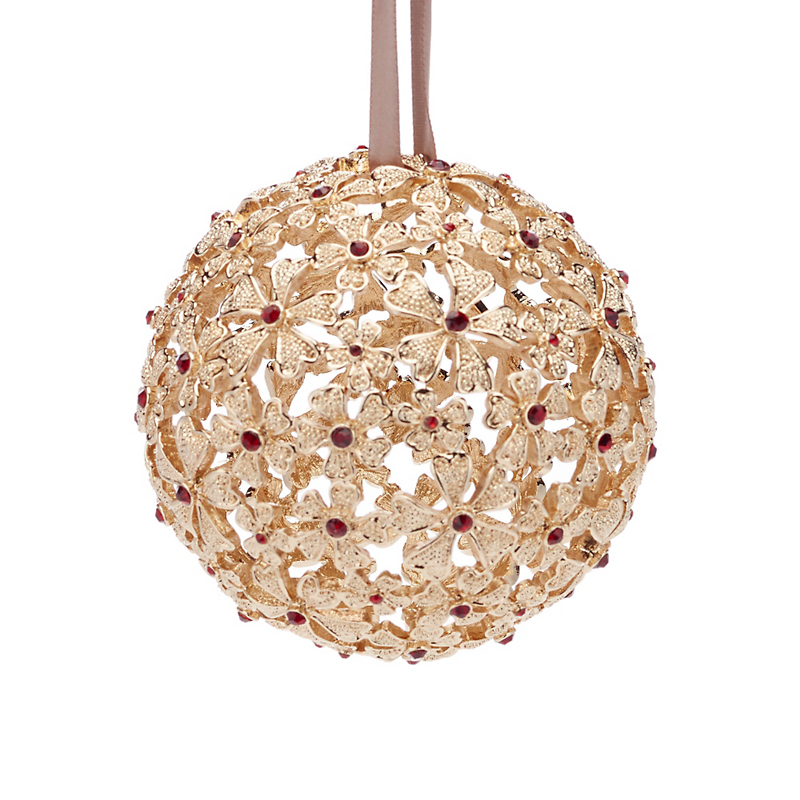 L'Objet Crystal Garland Ball Ornament, Gold/Red