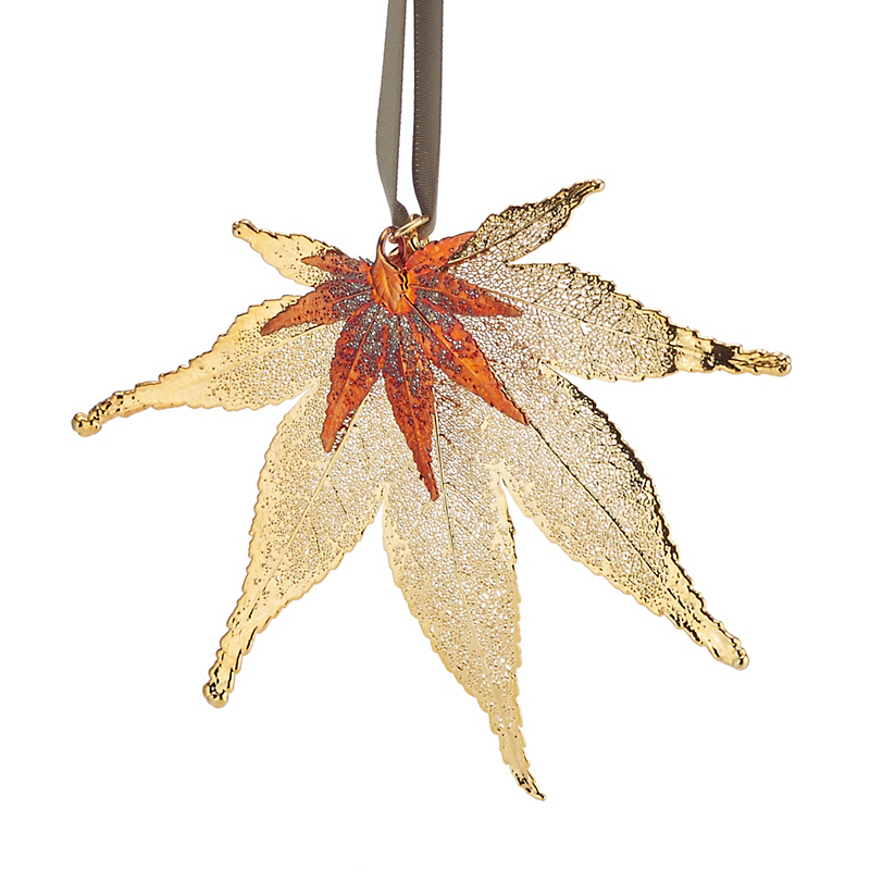 Still Life Double Japanese Maple Gold Christmas Ornament