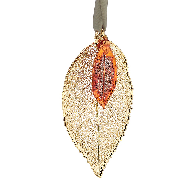 Still Life Rose Leaves Gold Copper Christmas Ornament