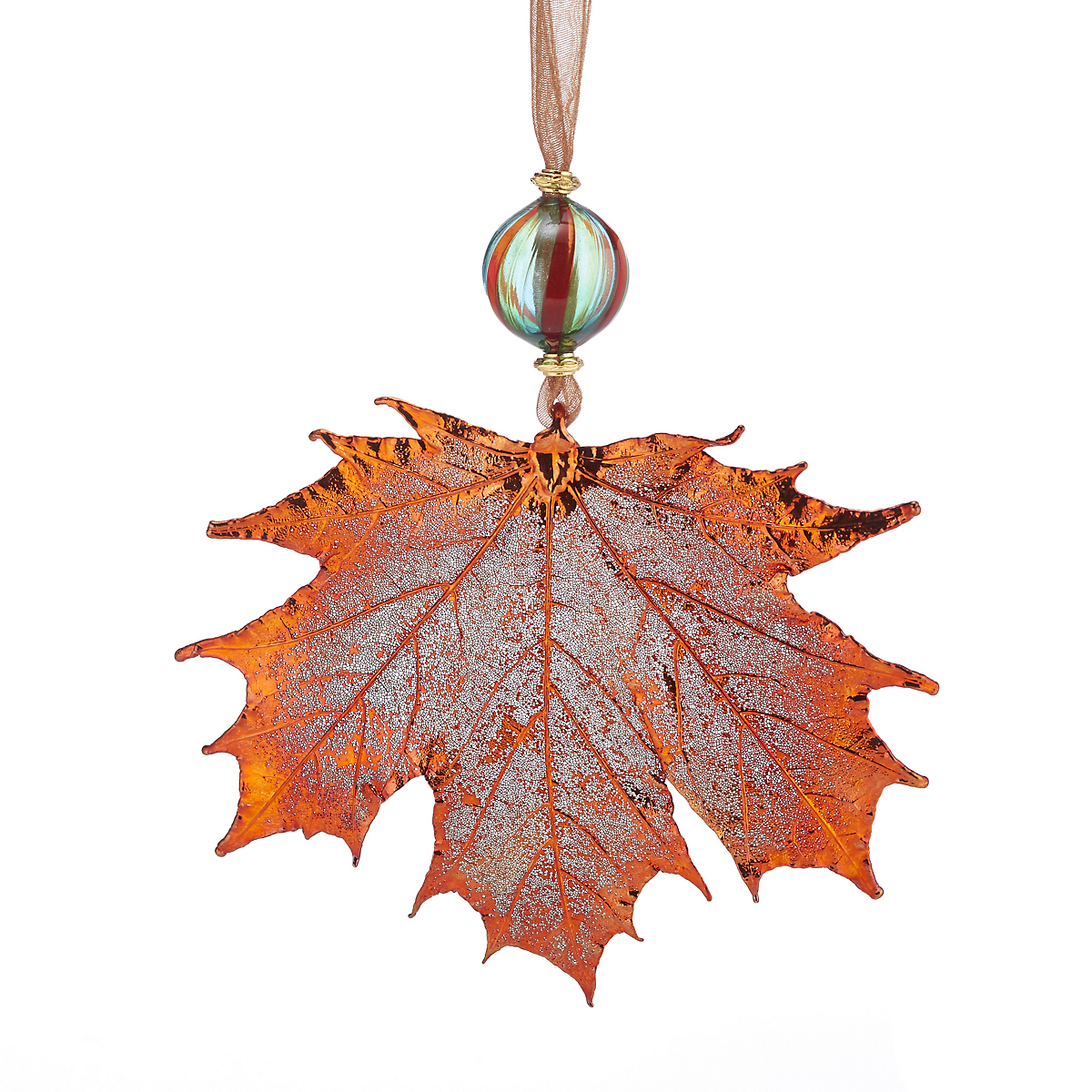 Still Life Sugar Maple with Murano Bead Copper Christmas Ornament