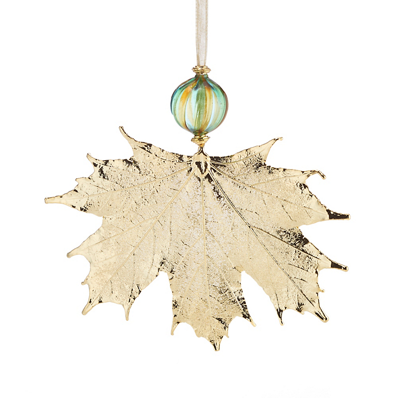 Still Life Sugar Maple with Murano Bead Gold Christmas Ornament