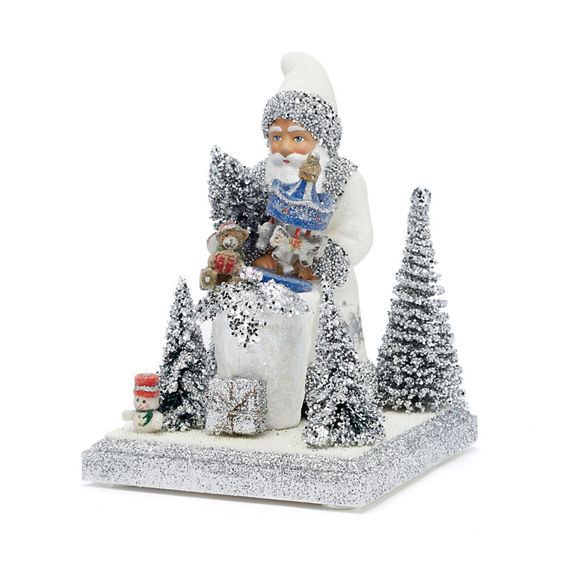 Ino Schaller Santa with Silver Trees on Stand