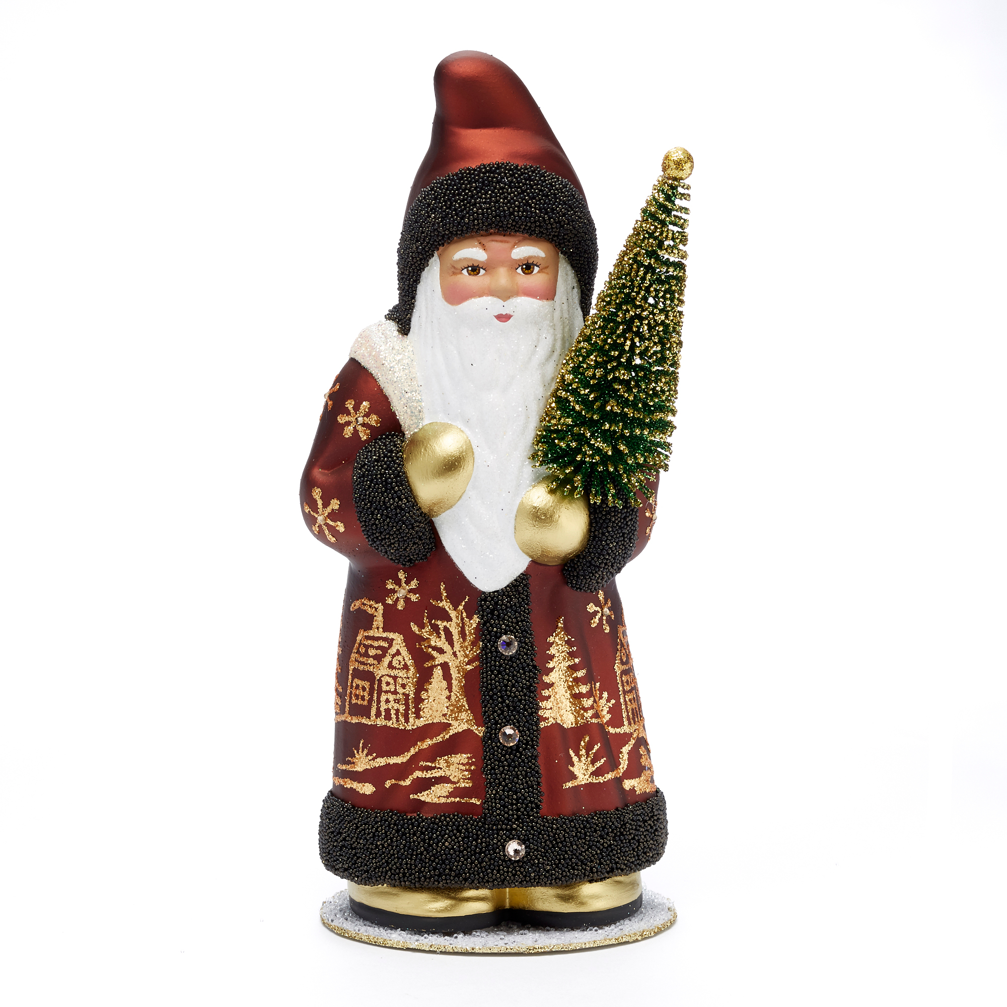 Ino Schaller Santa with Brown-Trim Copper Coat