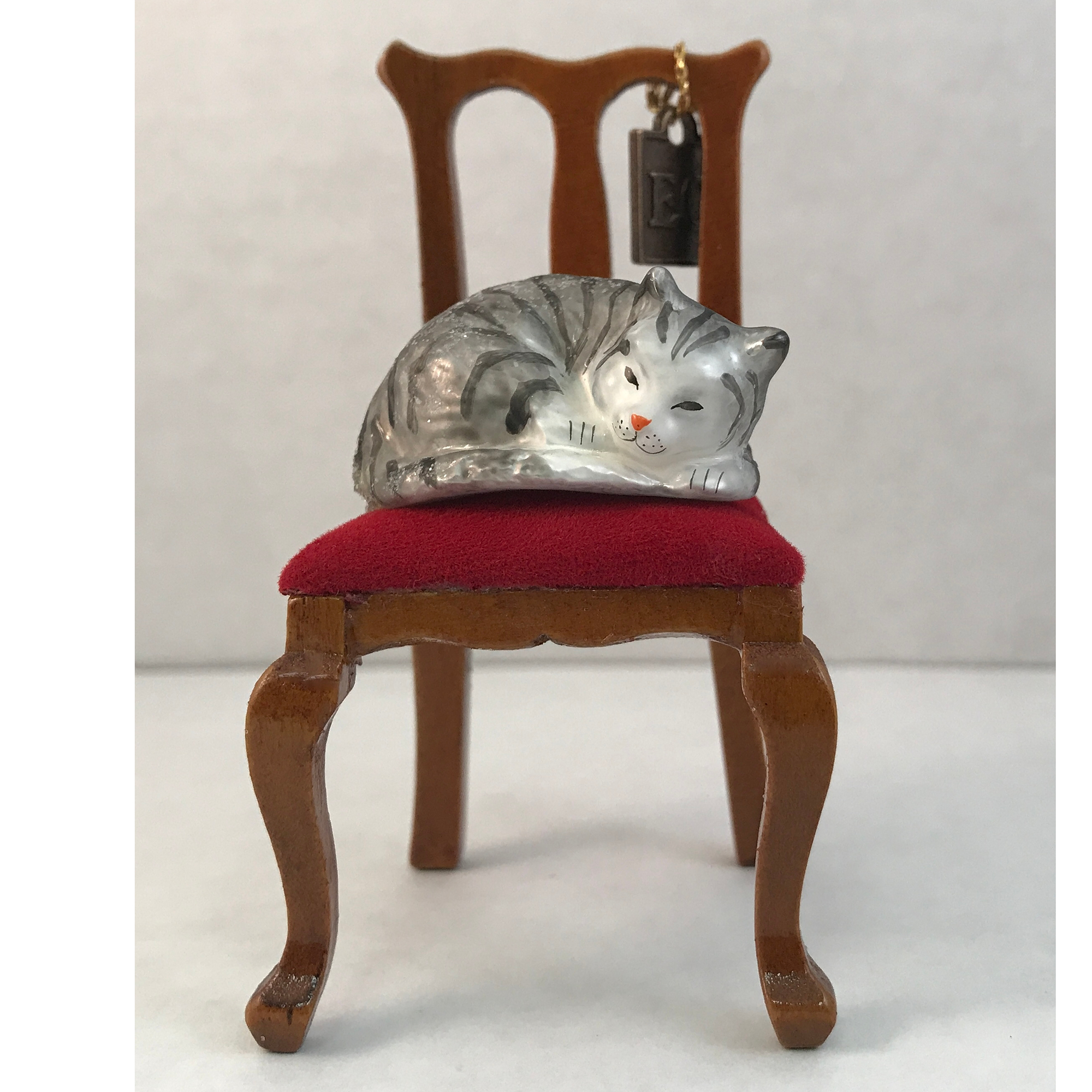 Eric Cortina Sleeping Kitty on Chair Christmas Ornament
