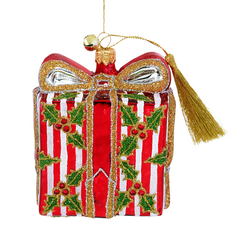 Jinglenog Holly Wrapped Christmas Ornament