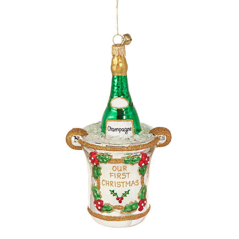 Jinglenog First Christmas 2017 Champagne Christmas Ornament