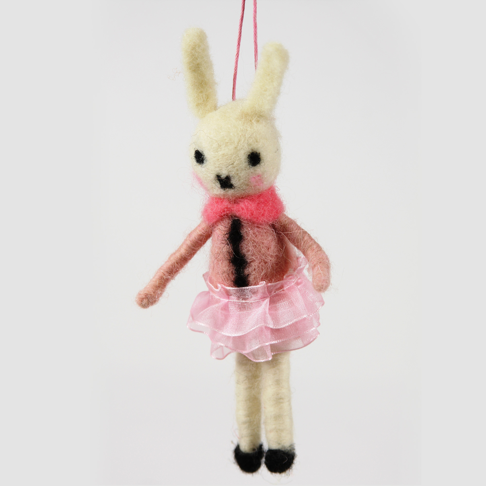 Bunny in Pink Dress Christmas Ornament