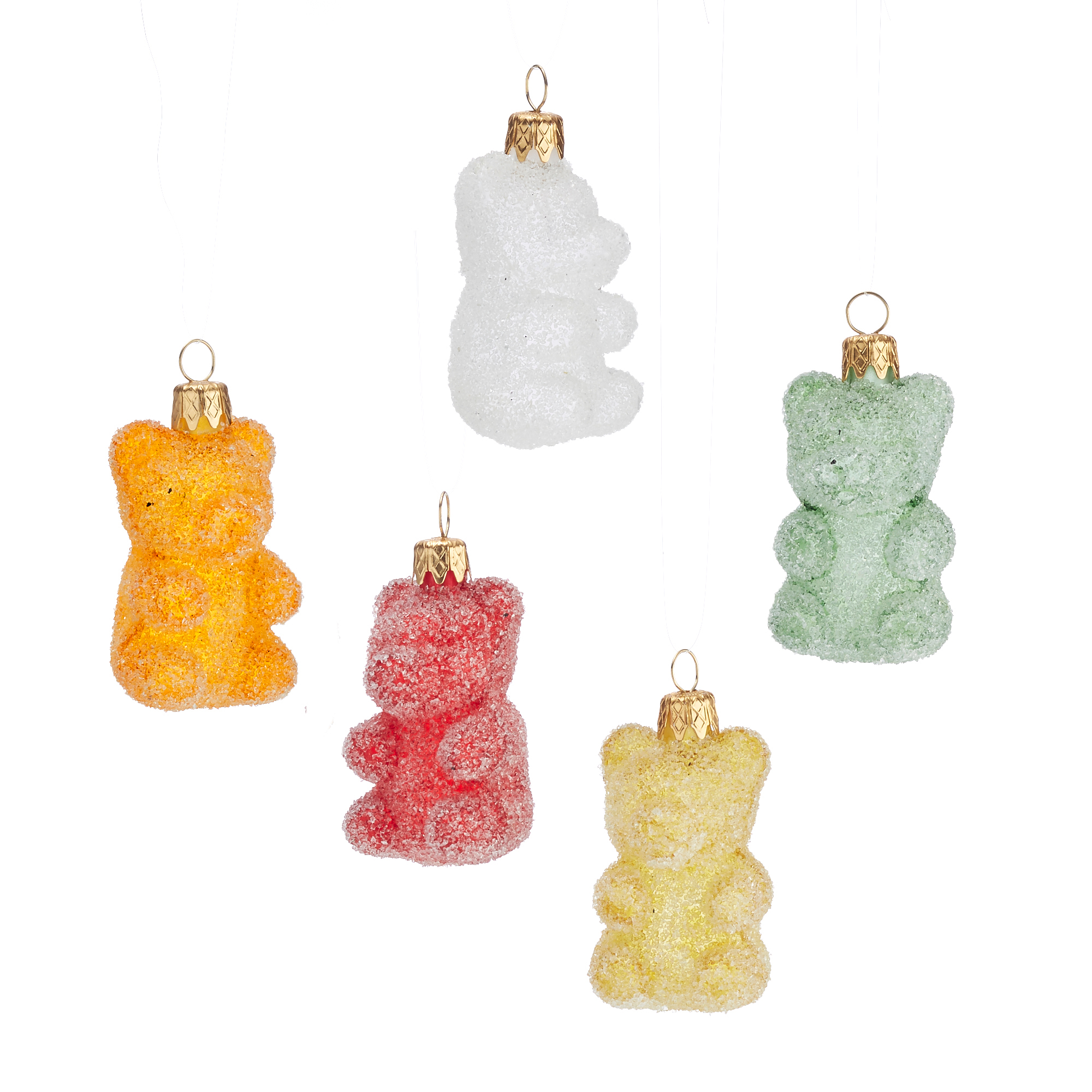 Frosted Gummi Bears Christmas Ornaments, Set of 5