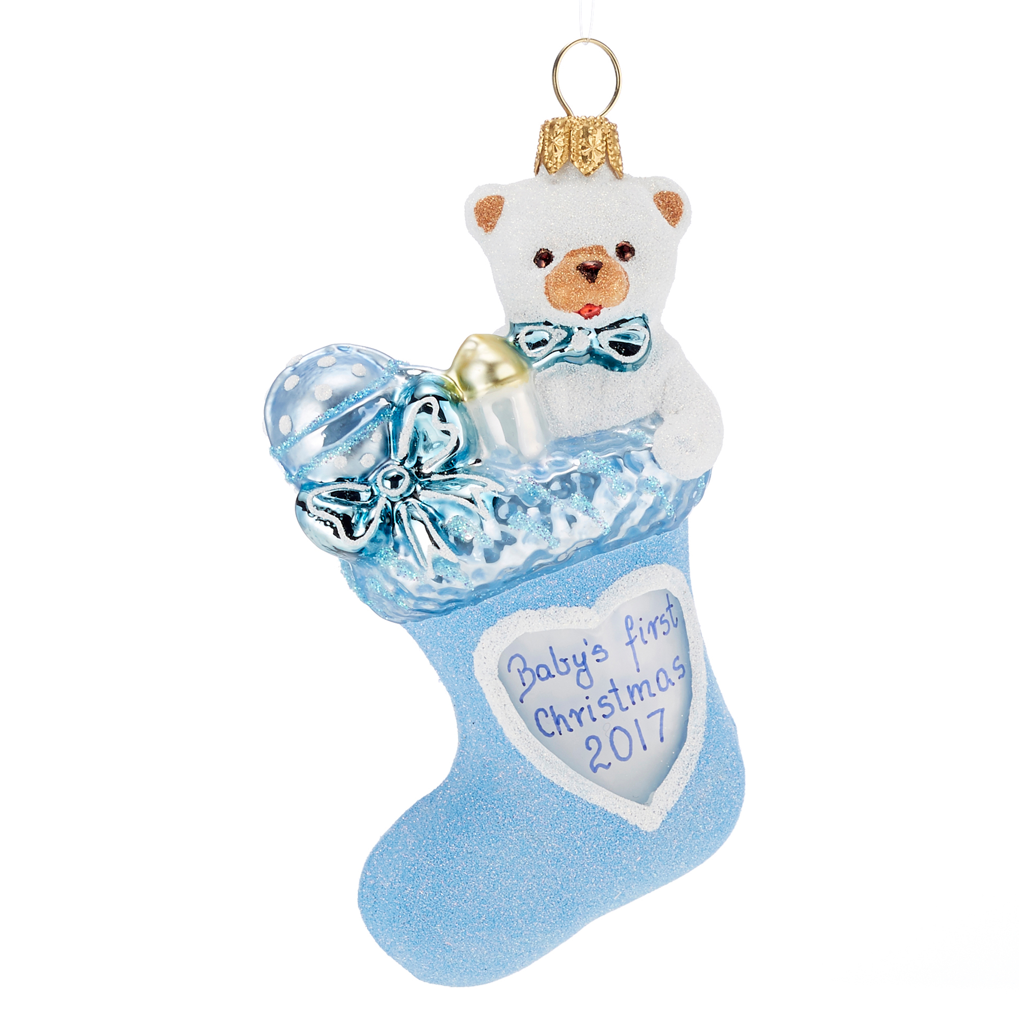 Baby's 1st Christmas Stocking Christmas Ornament, Blue