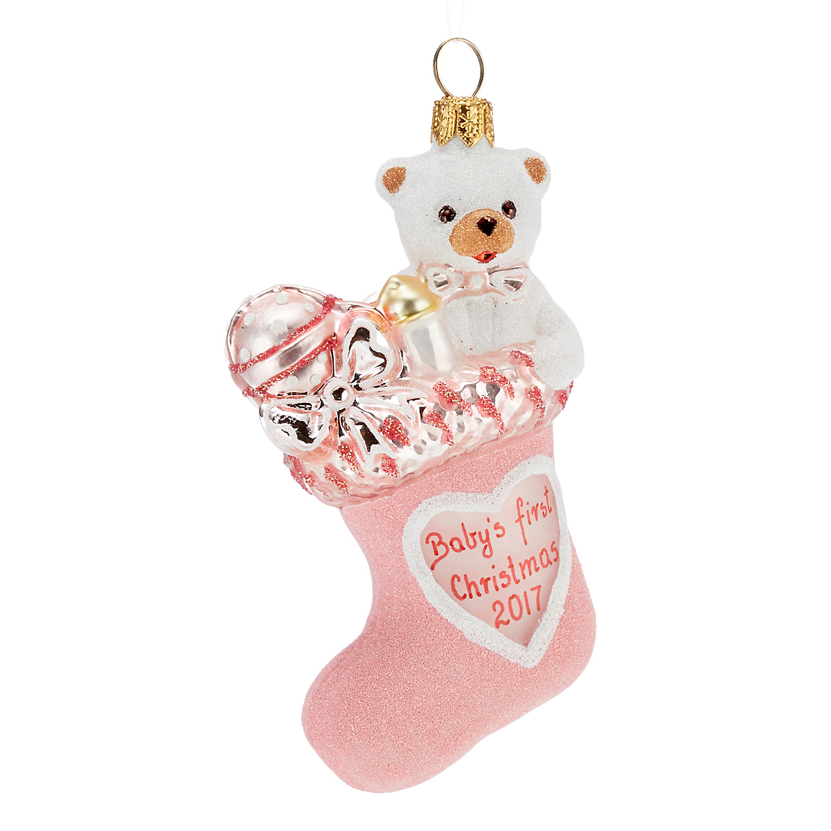 Baby's 1st Christmas Stocking Christmas Ornament, Pink