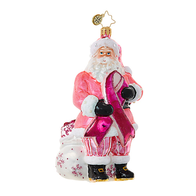 Christopher Radko Breast Cancer Awareness Santa Christmas Ornament