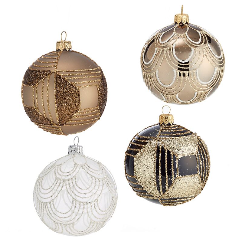 Art Deco Metallic Christmas Ornaments, Set of 4