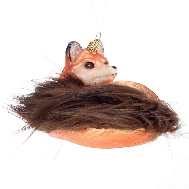 Fox with Furry Tail Christmas Ornament