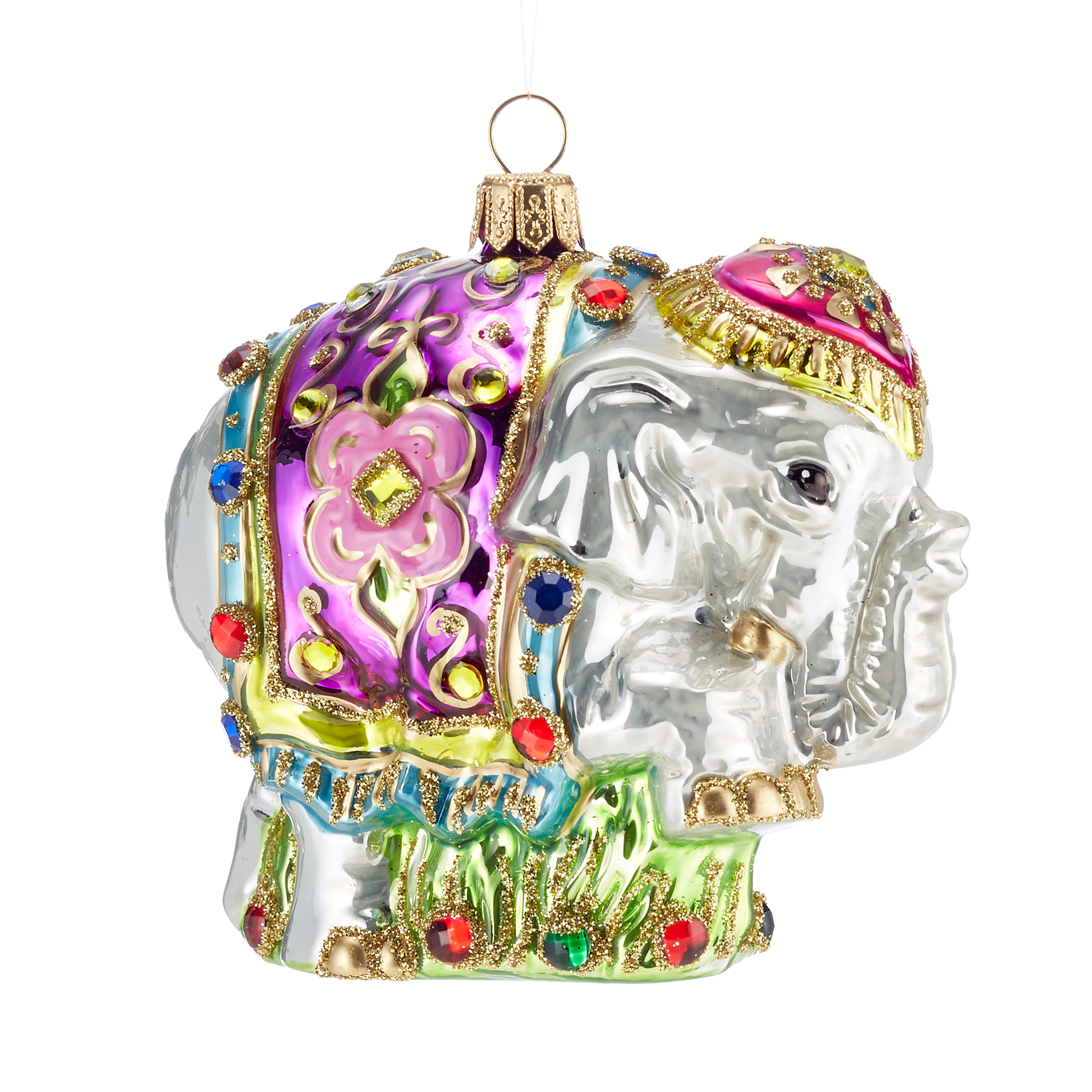 Jeweled Indian Elephant Christmas Ornament
