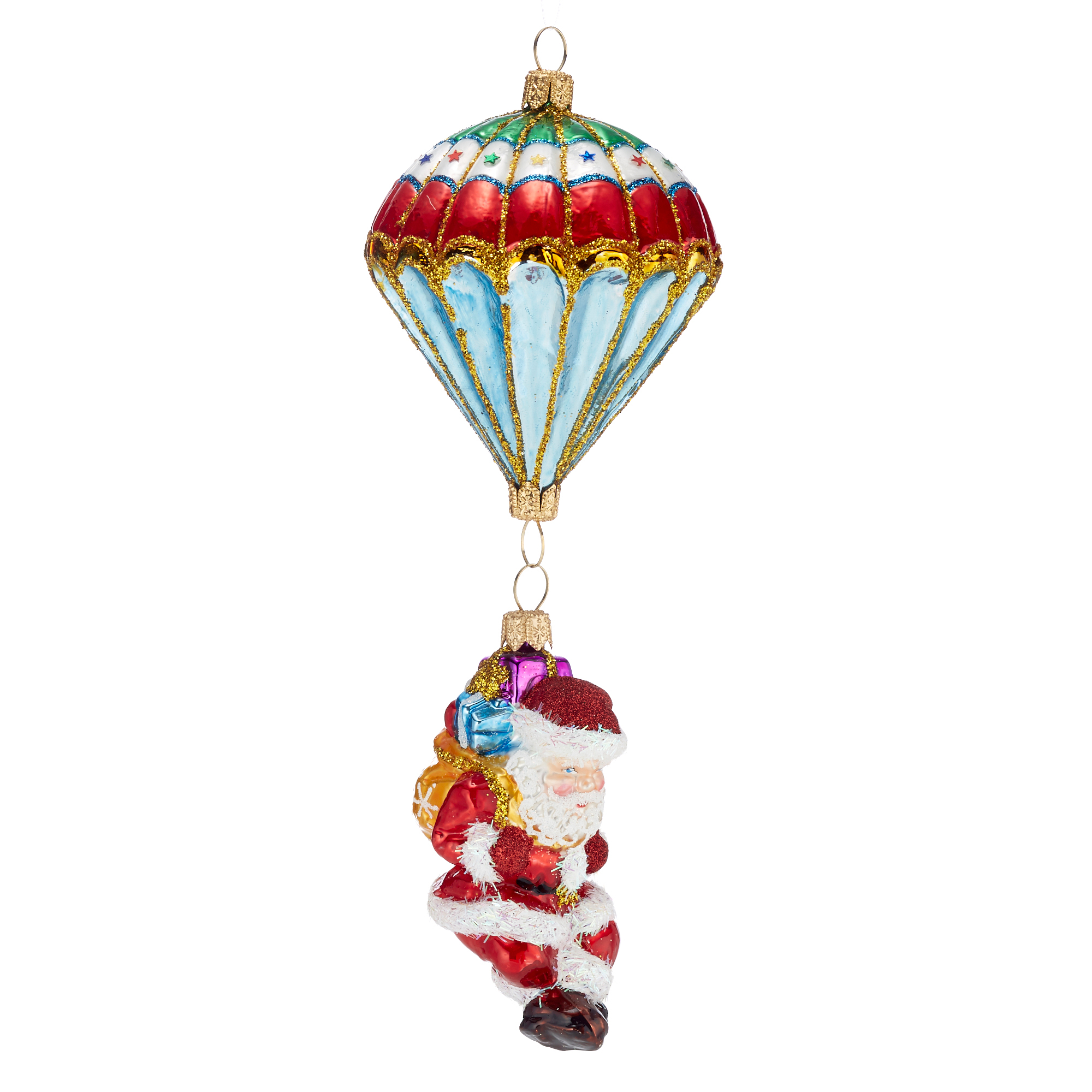 Parachuting Santa Christmas Ornament