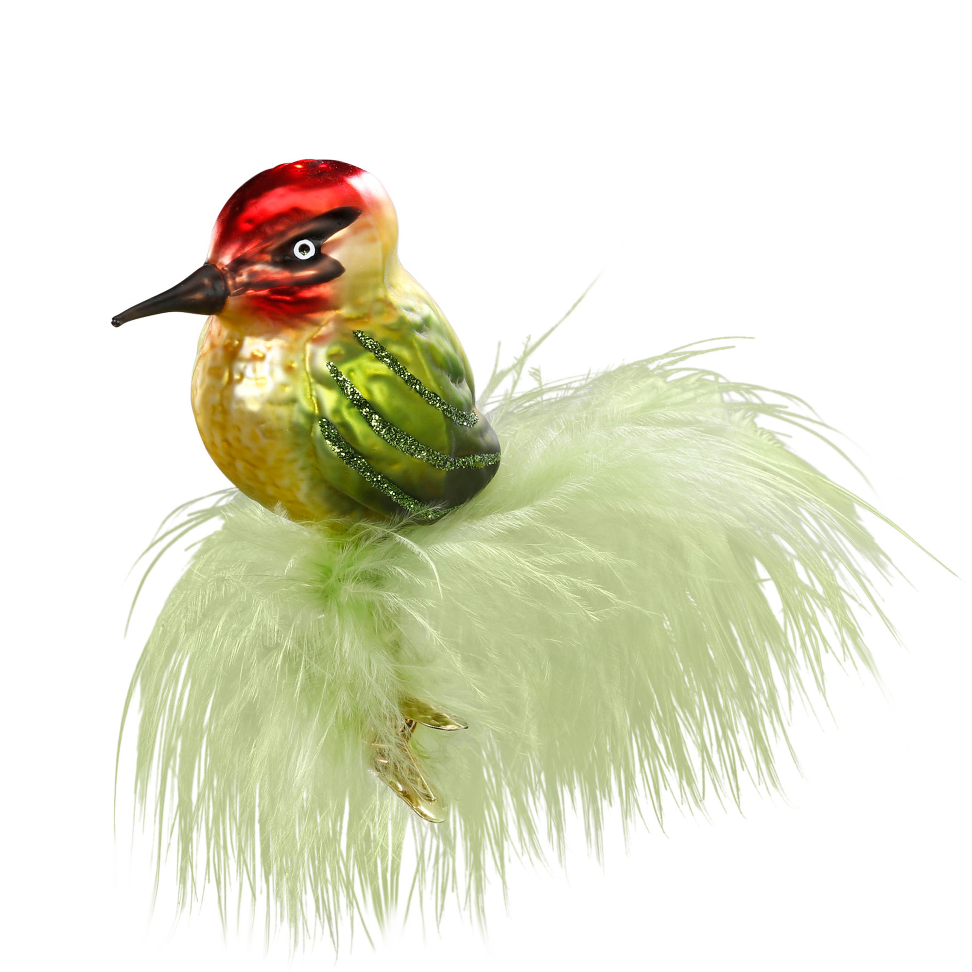 Woodpecker with Green Feathers Christmas Ornament