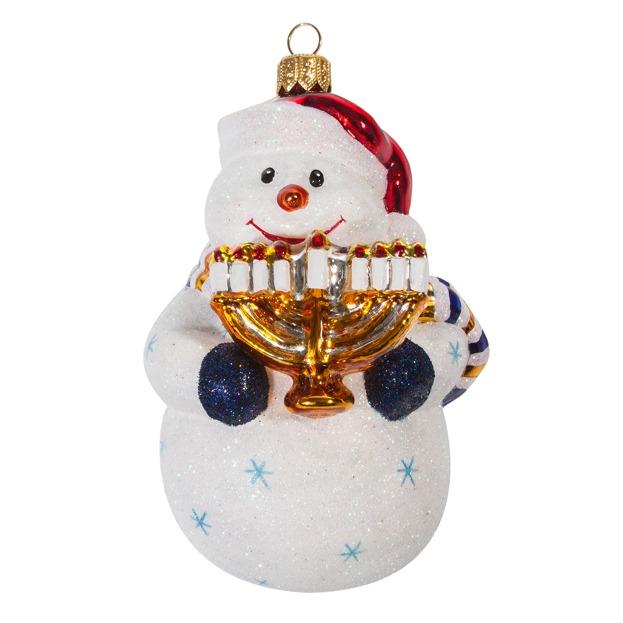 Snowman with Menorah Christmas Ornament