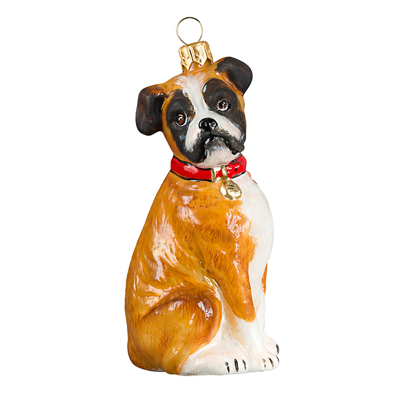 Boxer with Floppy Ears Christmas Ornament