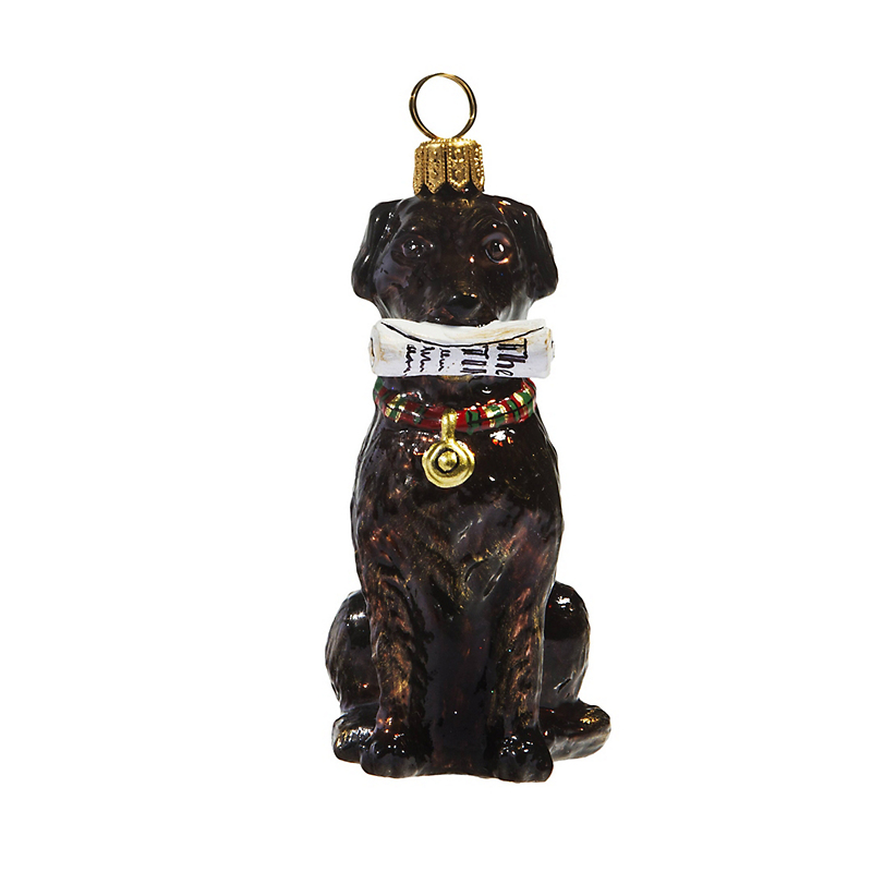 Chocolate Lab with Newspaper Christmas Ornament