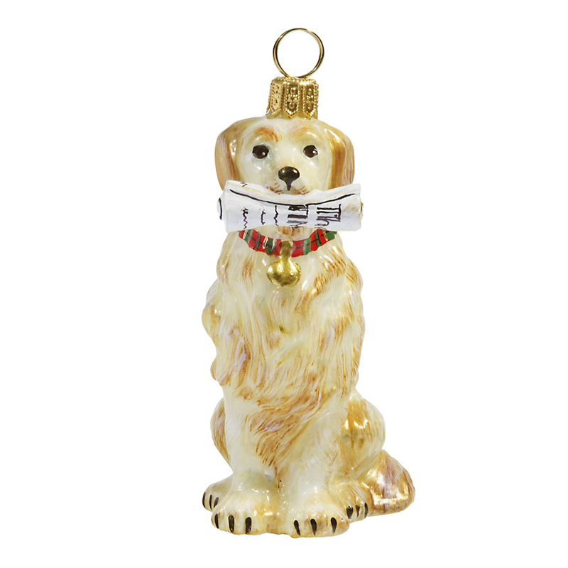 Golden Retriever with Newspaper Christmas Ornament