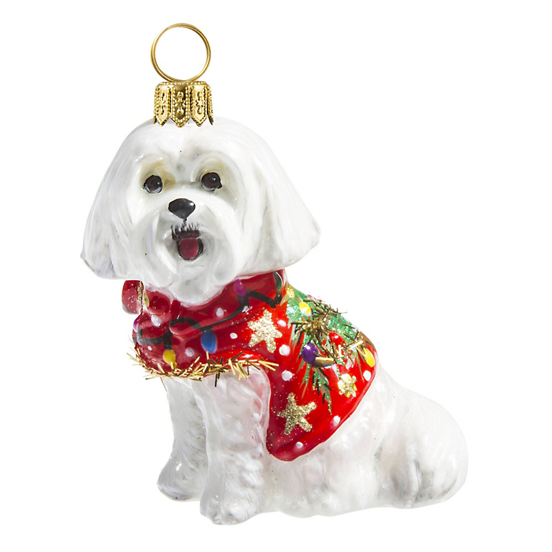 Maltese with Ugly Sweater Christmas Ornament