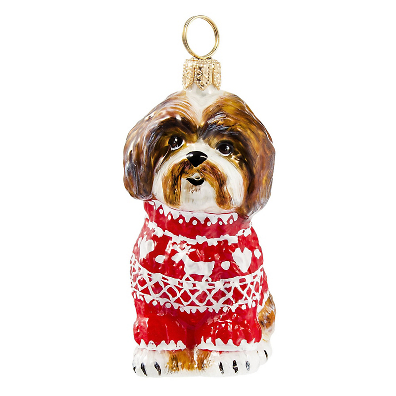 Shih Tzu in Sweater Christmas Ornament