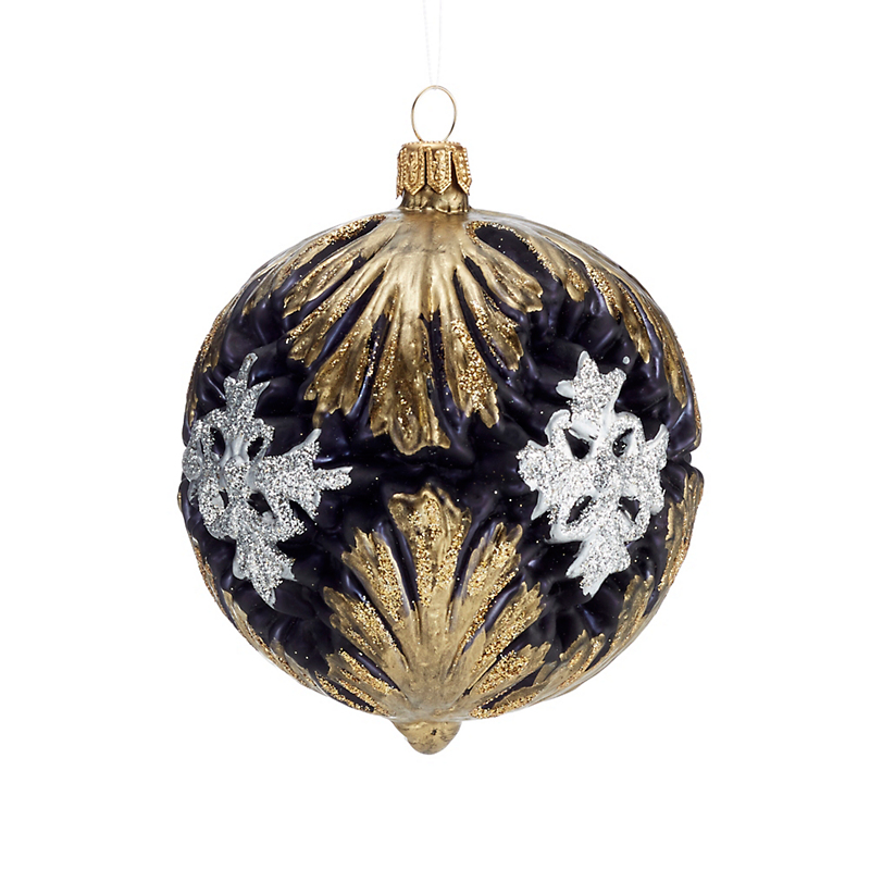 Black with Gold Silver Flourish Christmas Ornament