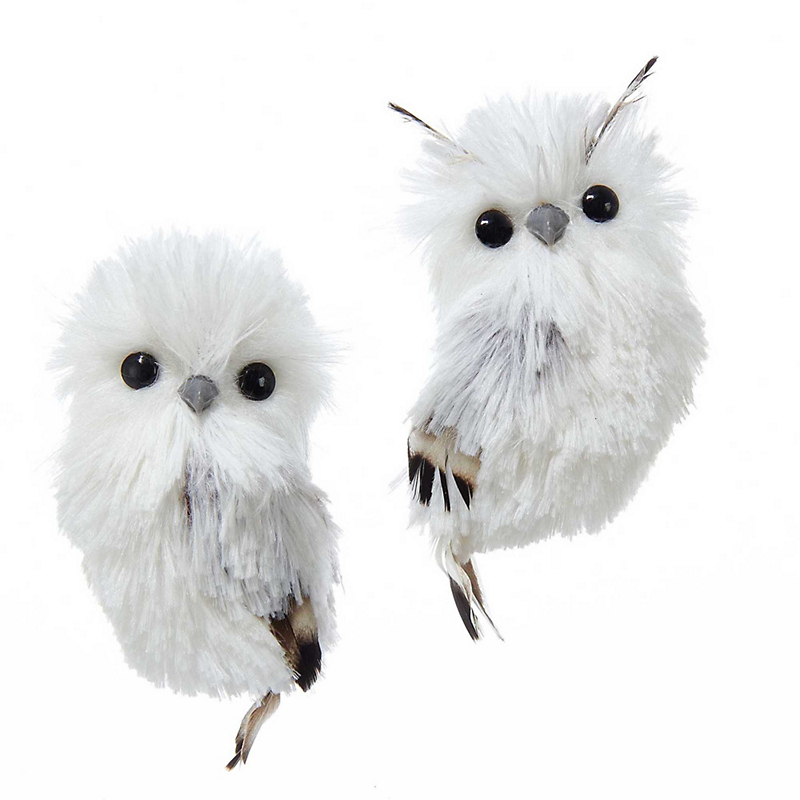 Silver & White Owl Christmas Ornaments, Set of 2