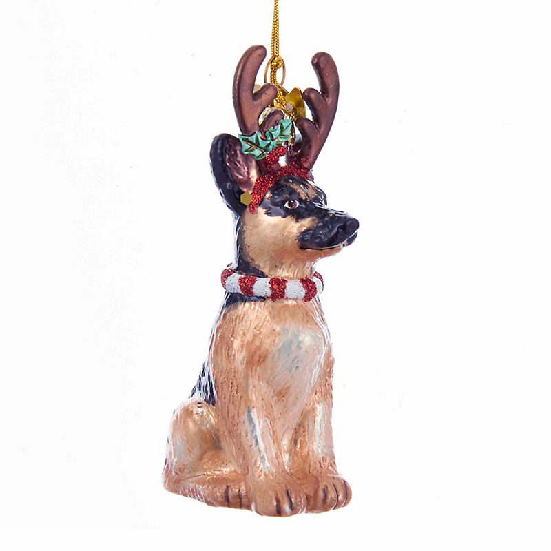German Shepherd with Antlers Christmas Ornament