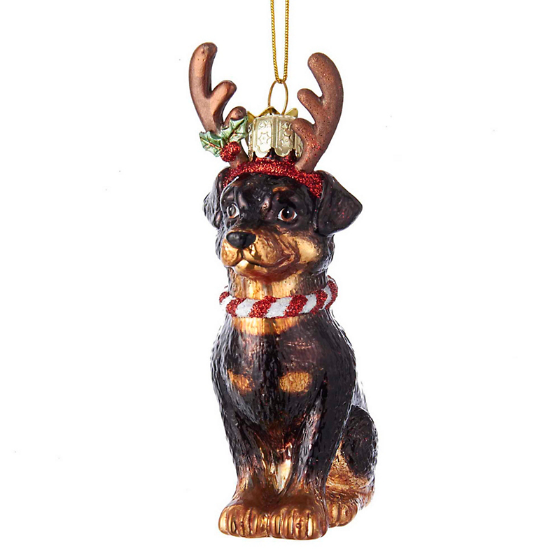 Rottweiler with Antlers Christmas Ornament