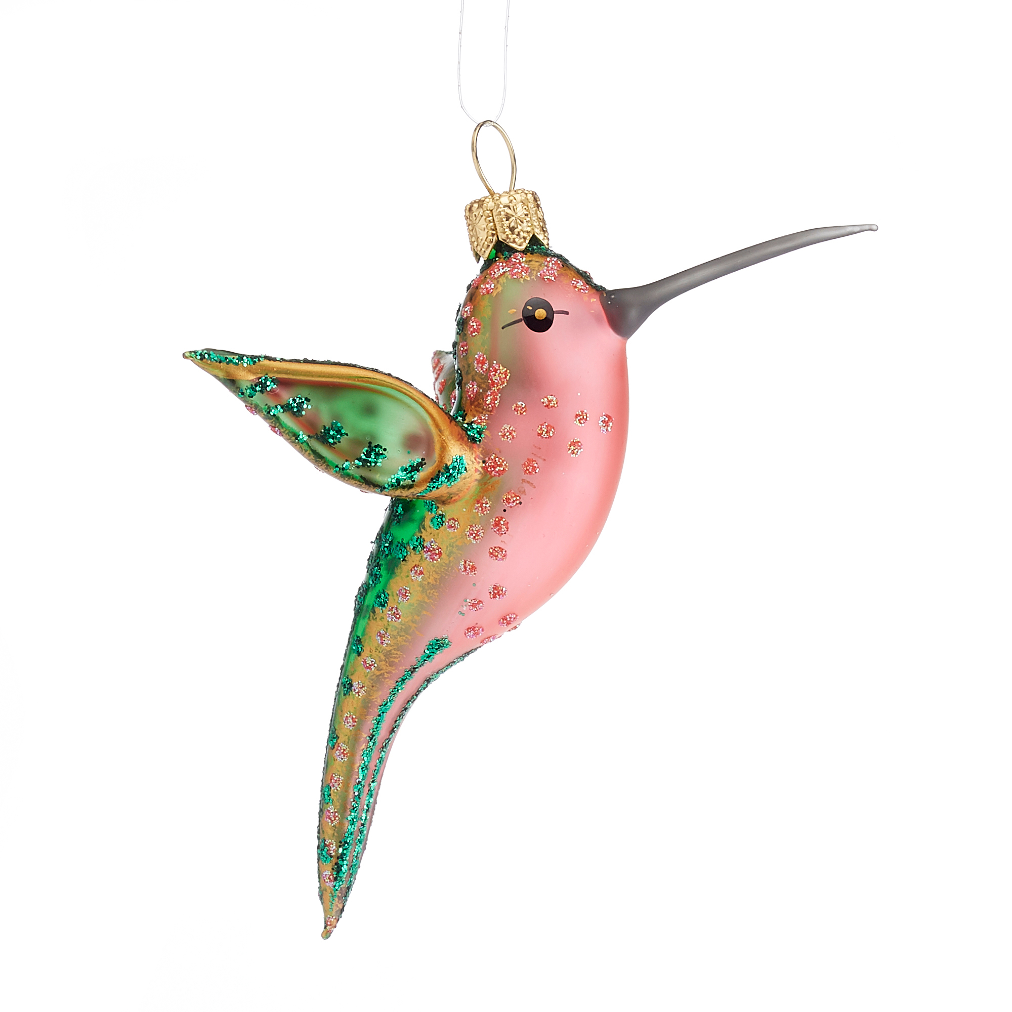 Emerald Rose Hummingbird Ornament