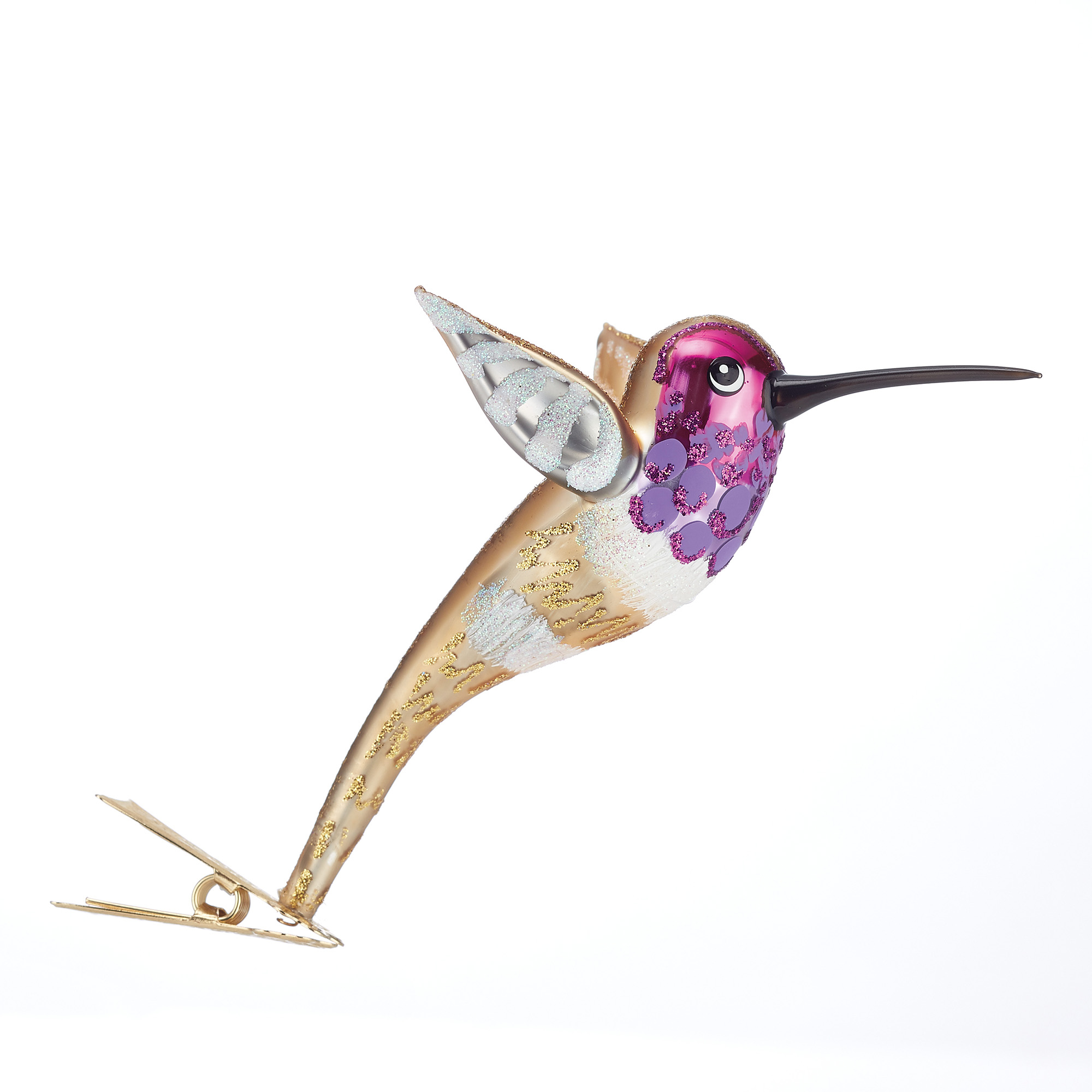 Gold & Purple Hummingbird Clip Ornament