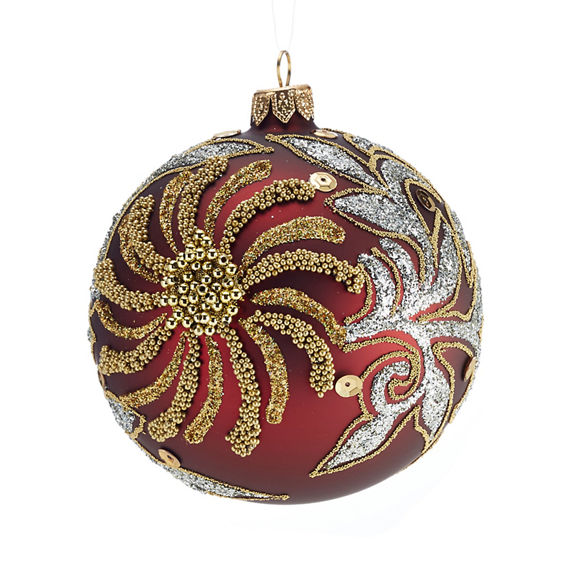 Red with Gold Bead Flower Ball Christmas Ornament