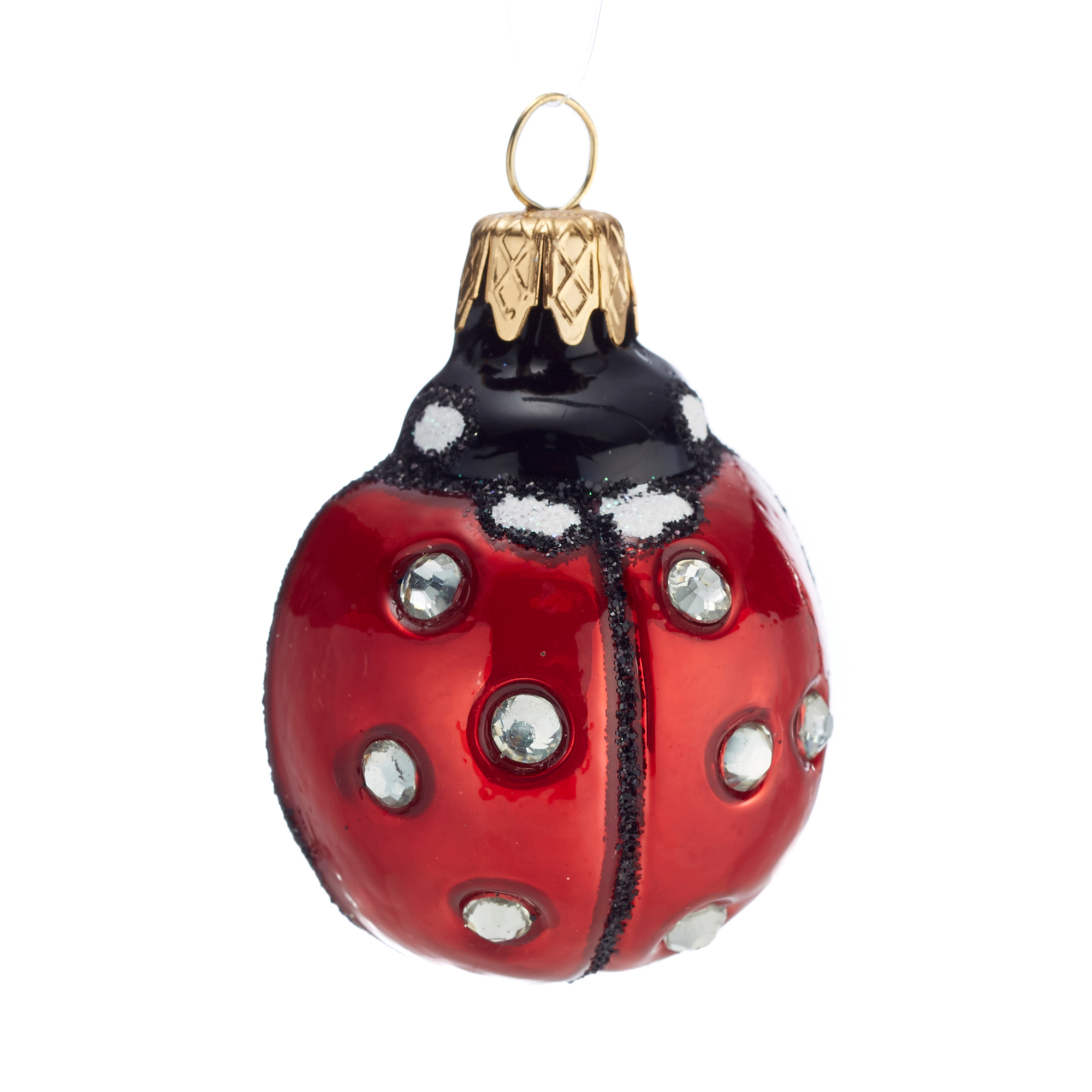 Ladybug with Crystals Christmas Ornament