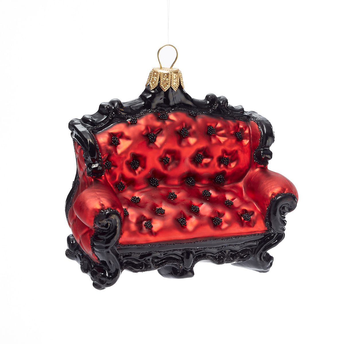 Red Black Couch Christmas Ornament
