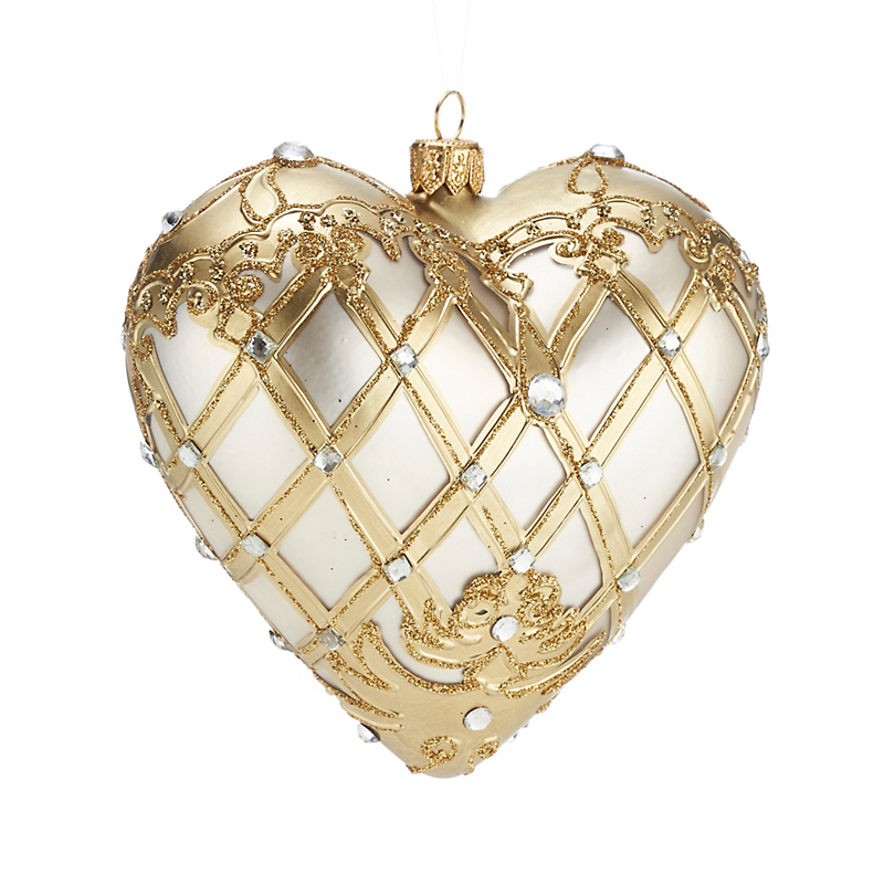 Ivory Gold Heart Christmas Ornament