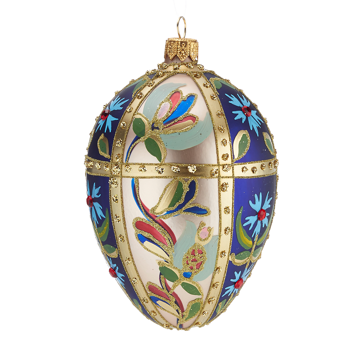 Panel Floral Egg Blue Gold Christmas Ornament
