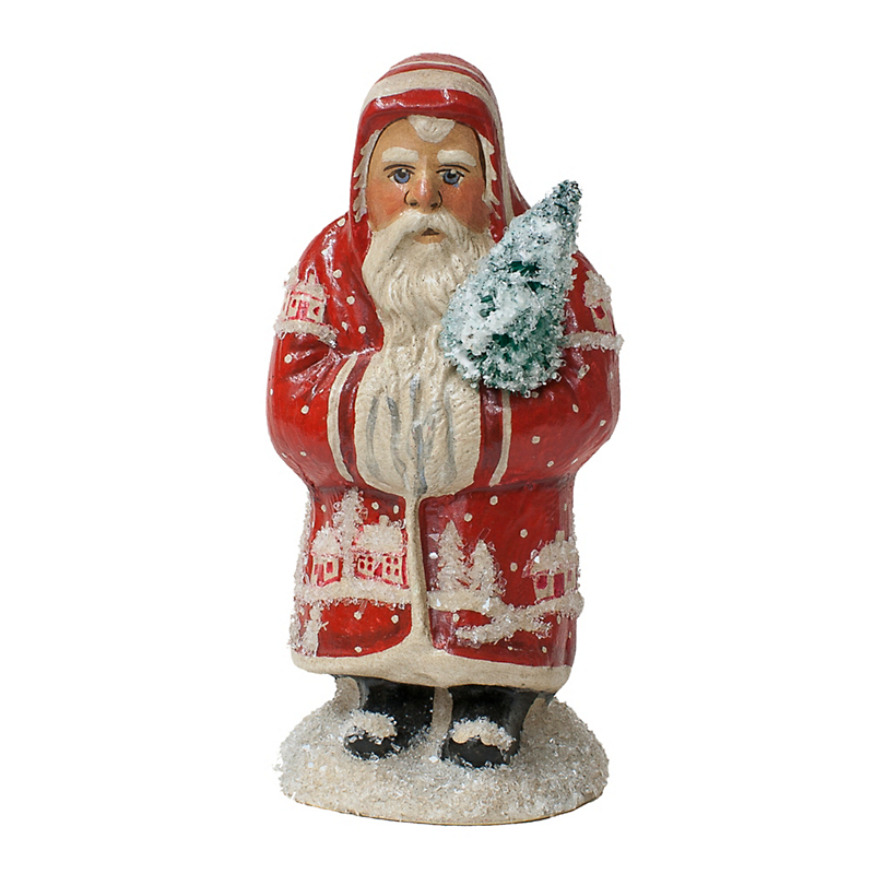Vaillancourt Mini Santa in Red Coat with Tree, 5""