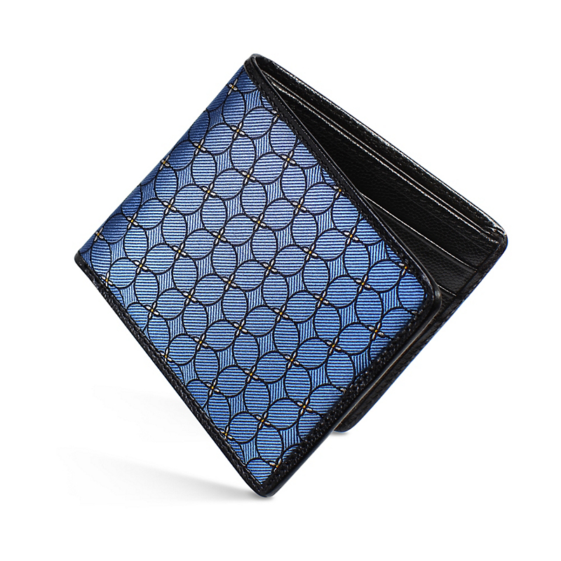 Dalvey Slim Blue Quadrille Billfold Wallet
