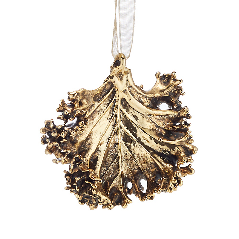 Still Life Kale Gold Christmas Ornament