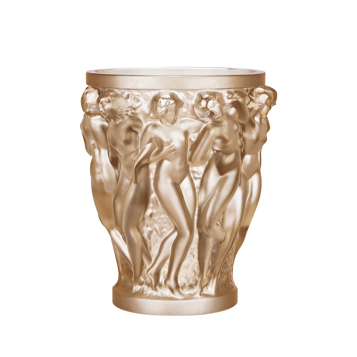 Lalique bacchantes gold luster vase large gump 39 s for Lalique vase