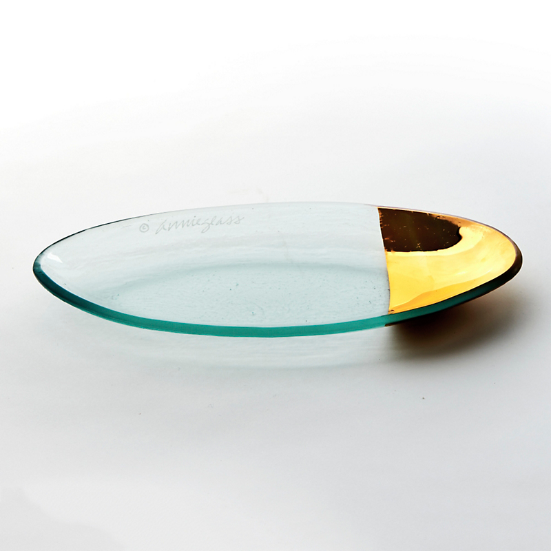 Annieglass Gold-Tipped Mod Oval Platter, Small