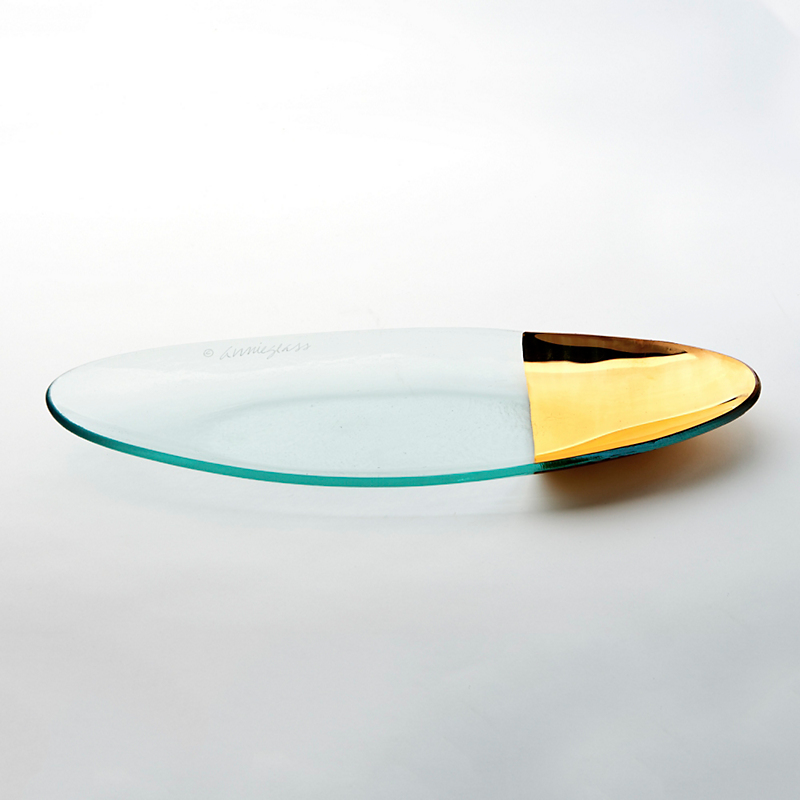 Annieglass Gold-Tipped Mod Oval Platter, Medium