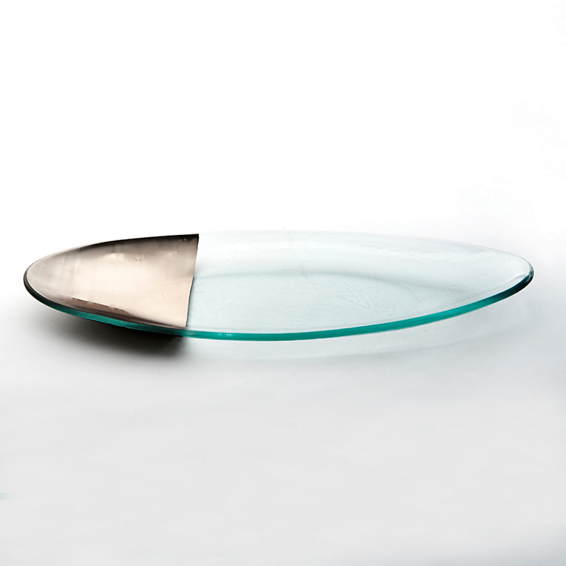 Annieglass Platinum-Tipped Mod Oval Platter, Medium